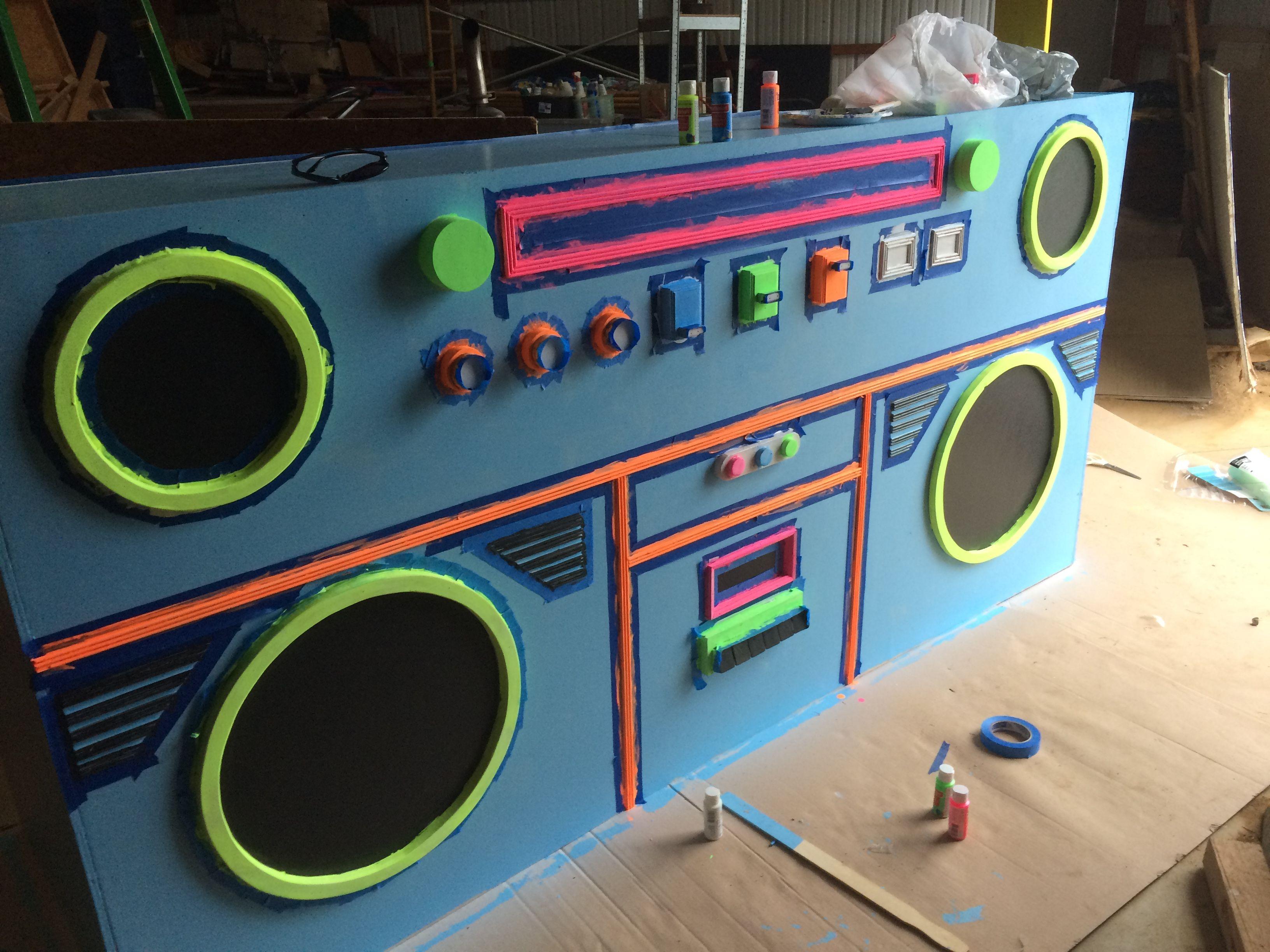 80s Ghetto Blaster DJ booth 80s theme party, Glow party