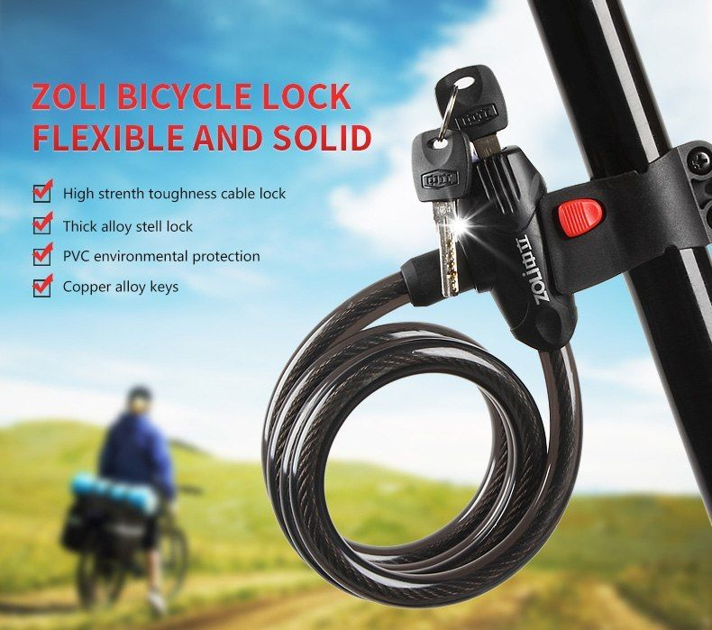 2018 New Anti Theft Bike Lock Steel Wire Lock With 2 Key Safe