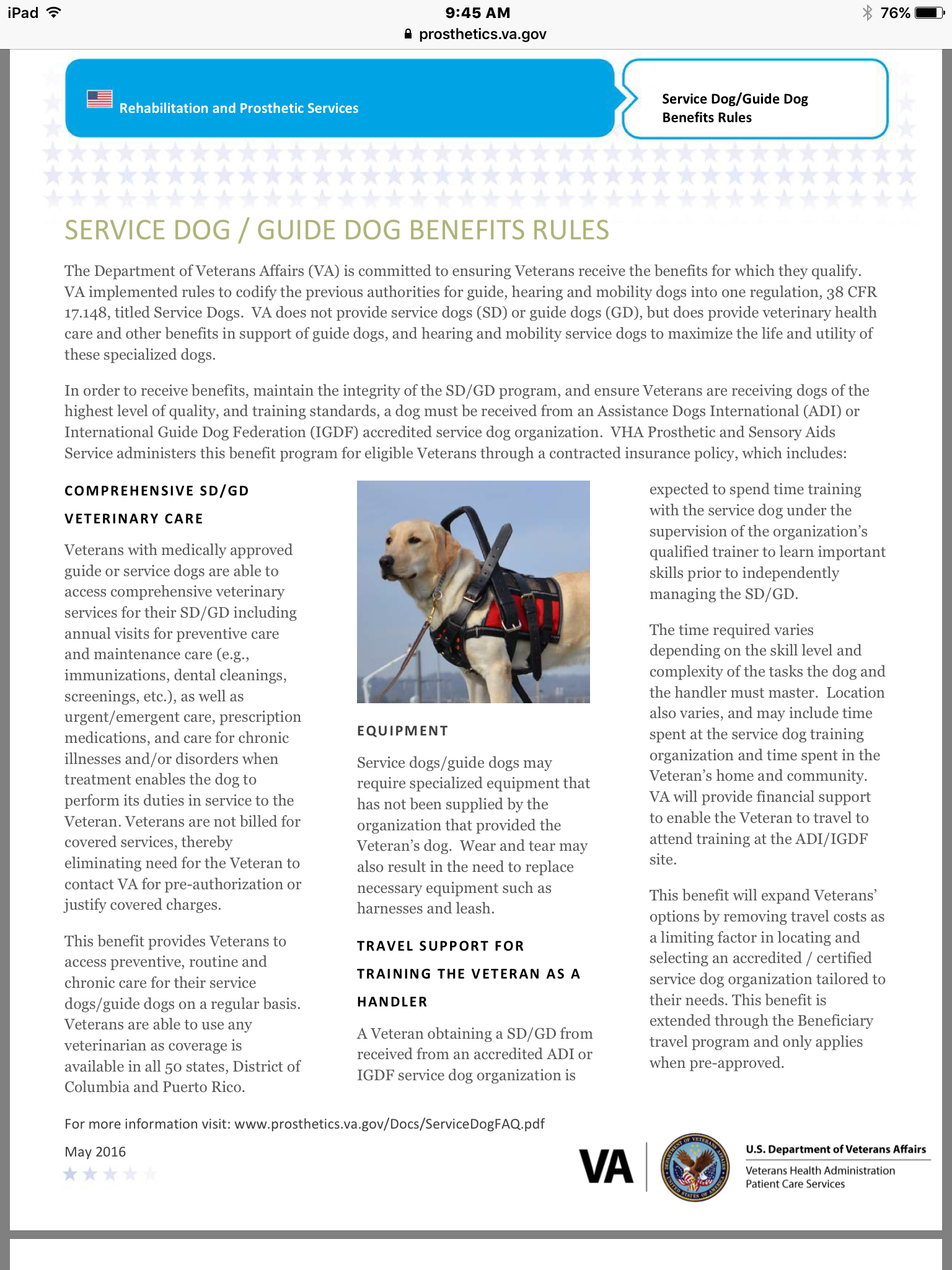 Service Dog / Guide Dog benefit rules Dog benefits