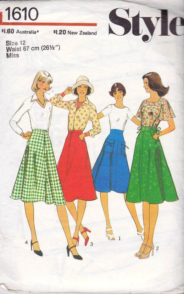 Style 1610 Womens Boho Flared Skirt 70s Vintage Sewing Pattern Size ...