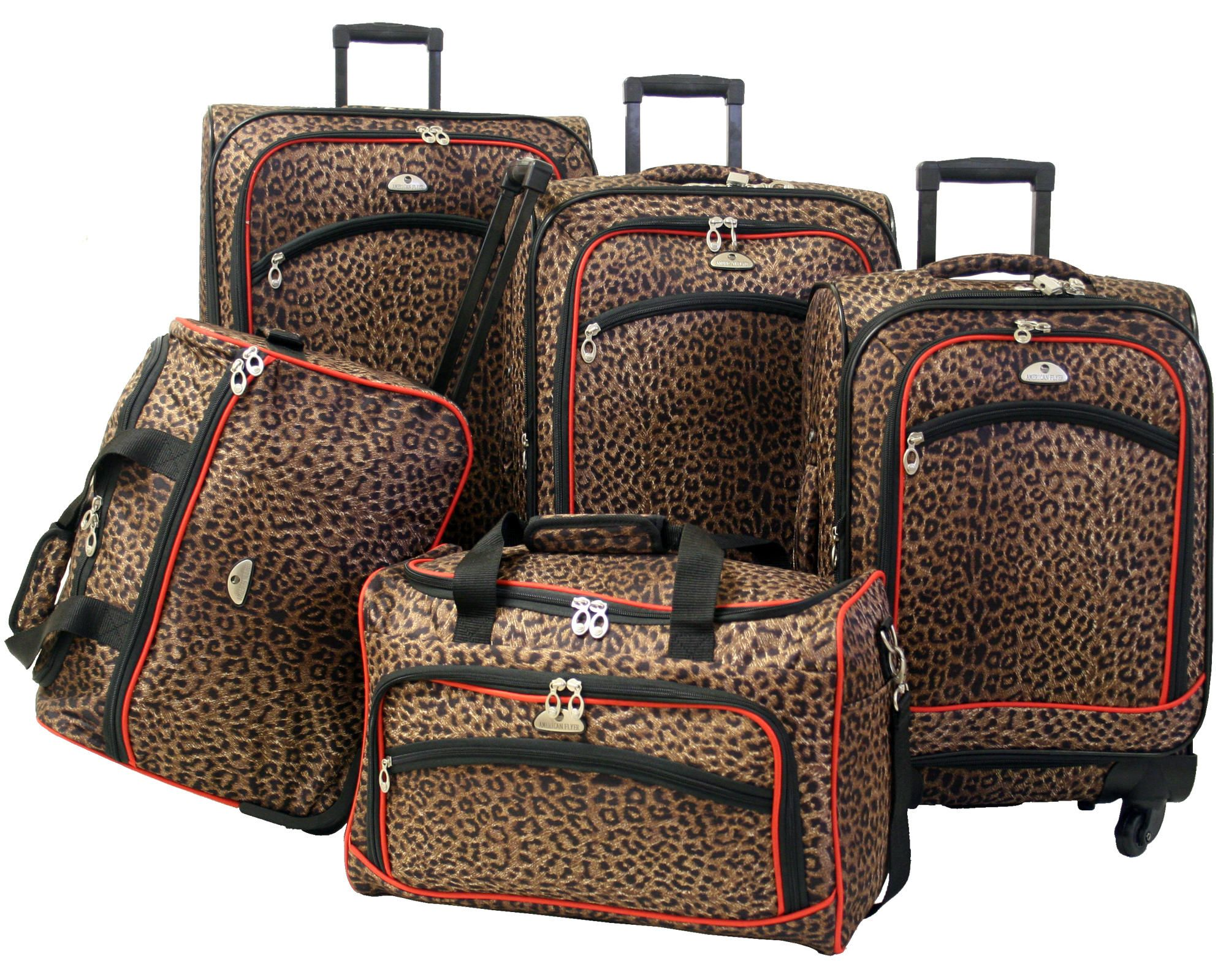 8c33113e9a4e American Flyer Animal Print 5 Piece Expandable Spinner Luggage Set I want  this!!!