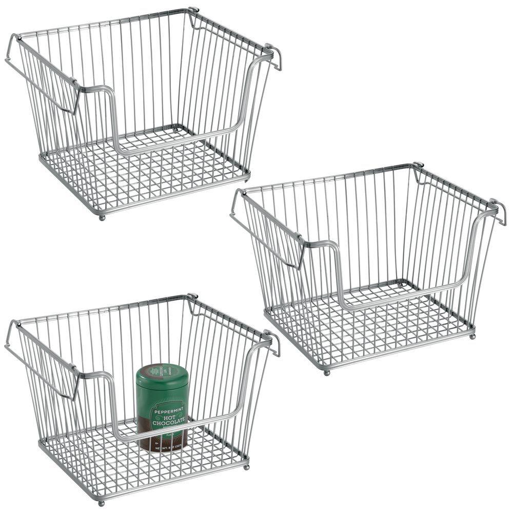 Large Stacking Metal Kitchen Pantry Storage Basket 10 7 X 12 5 X 8 5 Storage Baskets Kitchen Pantry Kitchen Pantry Storage