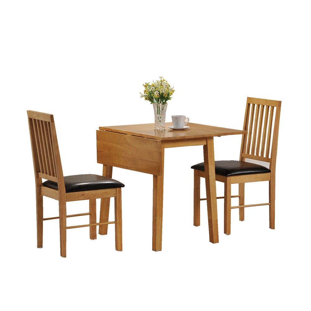 Dining table and 2 chairs set 2 seater drop leaf set for Small dining table with leaf