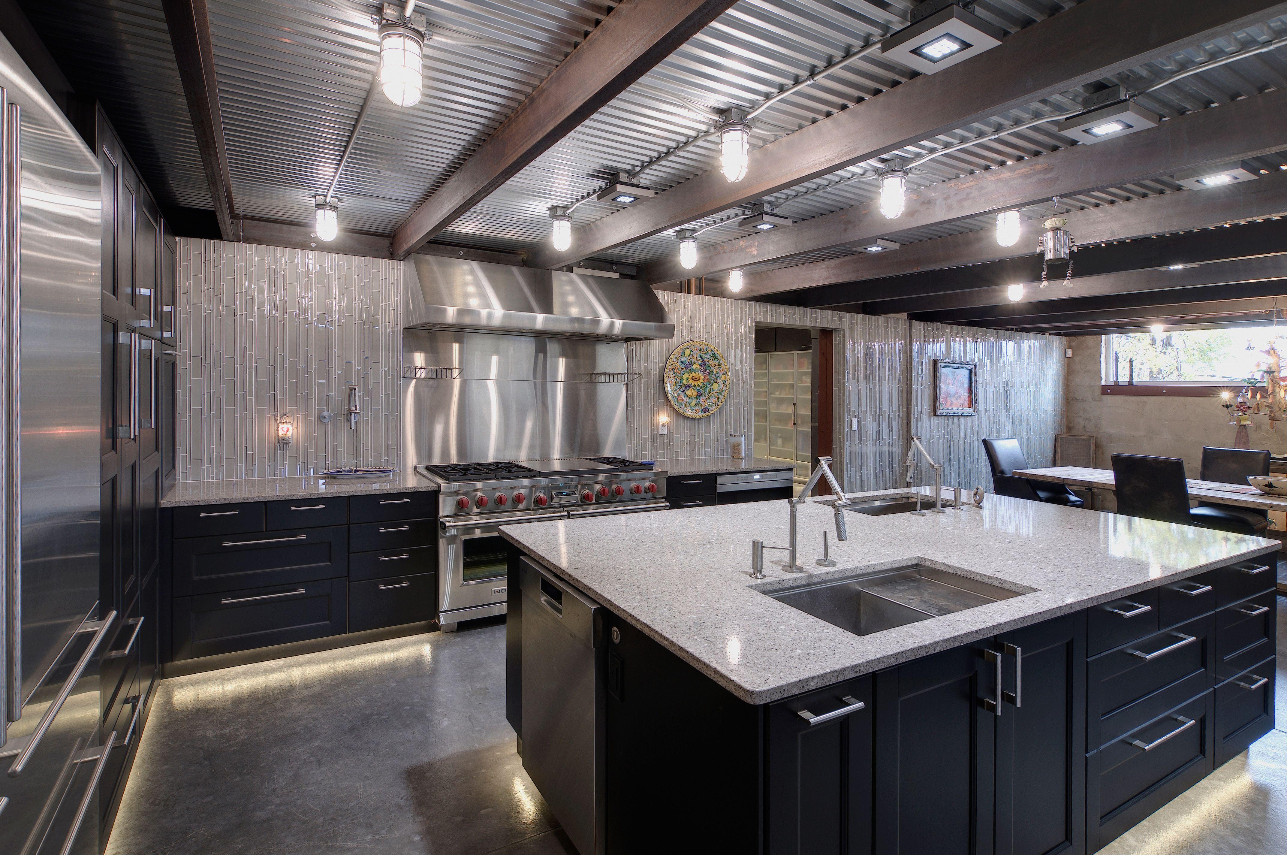 Polished Concrete Flooring Under Cabinet Lighting Along Floor Corrugated Aluminu Industrial Apartment Decor Kitchen Ceiling Lights Polished Concrete Flooring