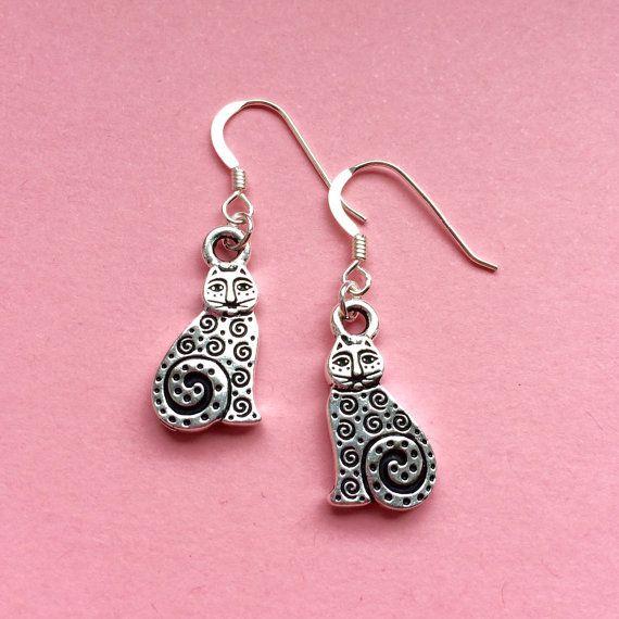 Silver cat earrings  Sterling silver by BohemianDesignStudio