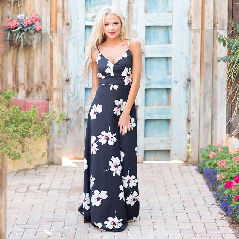 dd3c3a27fe0 Women Spaghetti Straps V Neck Beach Sleeveless Long Maxi Floral Printed  Floor Length Dresses S