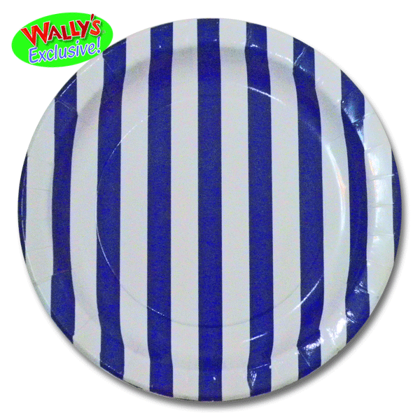 navy blue coordinating classics stripes paper dinner plates 8ct wally 39 s party supply store. Black Bedroom Furniture Sets. Home Design Ideas