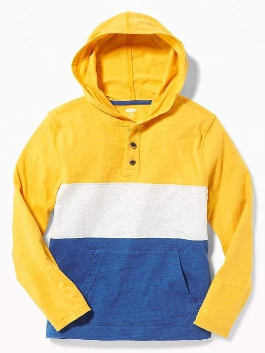 5bffd07a Old Navy Color-Blocked Henley Hoodie for Boys | Products | Hooded ...
