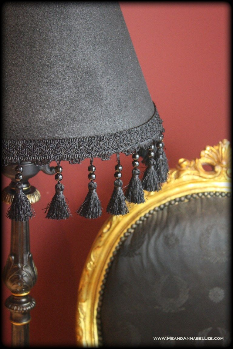 DIY Victorian Gothic Black Lamp Shade & Floor Lamp Table