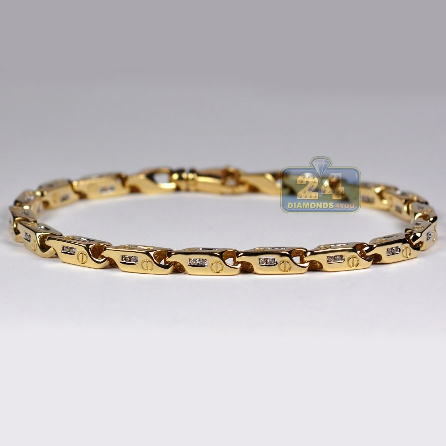 K yellow gold ct diamond bar link mens bracelet bracelets