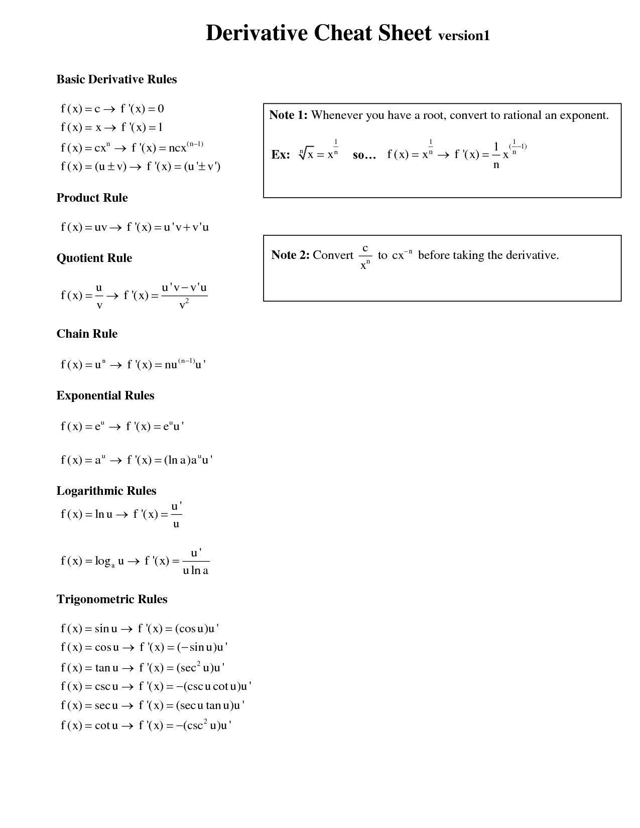 differentiation cheat sheet Derivative rules d ()xnnxn1 dx = − ()sin cos d x x dx = ()cos sin d x x dx =− d ()aax ln x dx =⋅a ()tan sec2 d x x dx = ()cot csc2 d x x dx =− ()() () () d f xgx fxgx gx fx dx ⋅=⋅ +⋅′′ ()sec sec tan d x x dx = x ()csc csc cot d x xx dx =− ()2 dfx gxfx fxgx.