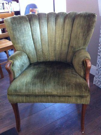 Beautiful antique sage green velvet arm chair
