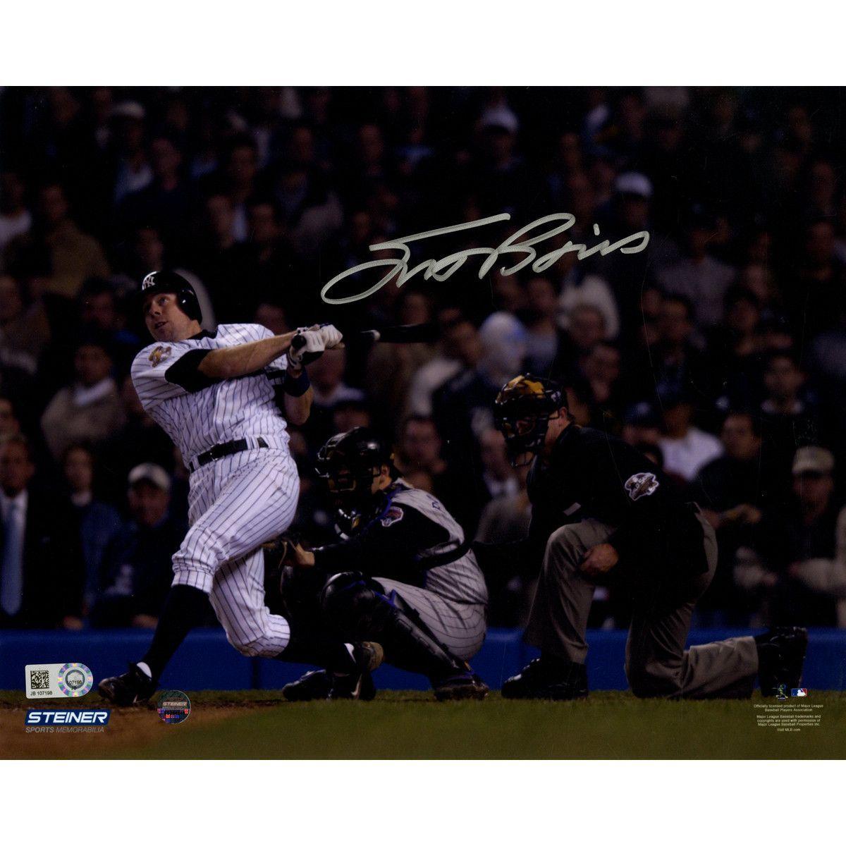 Scott Brosius Signed 2001 WS HR Swinging 8x10 Photo ( MLB Auth)