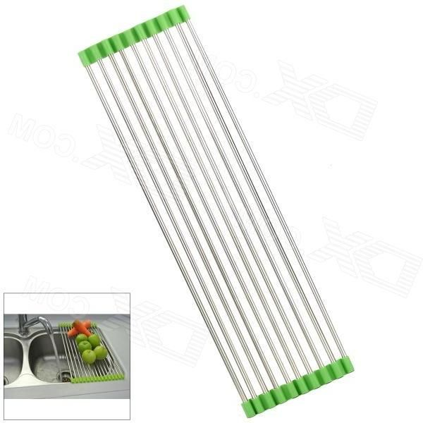 203 Lengthen Foldable Stainless Steel Drain Rack - Silver + Green