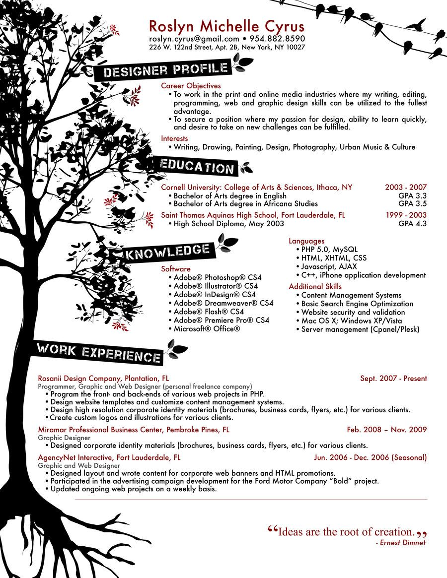 sample of creative graphic design resume sample of creative creative cv