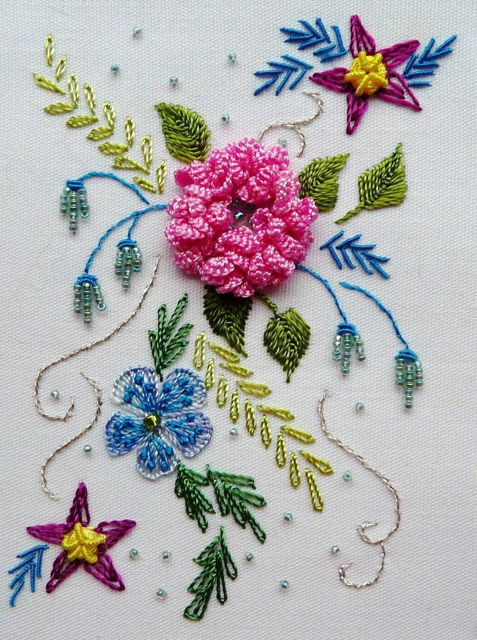 Ribbon embroidery bedspread designs - Brazilian Embroidery Bird Patterns Designs More Cascade Rose This Is An Intermediate