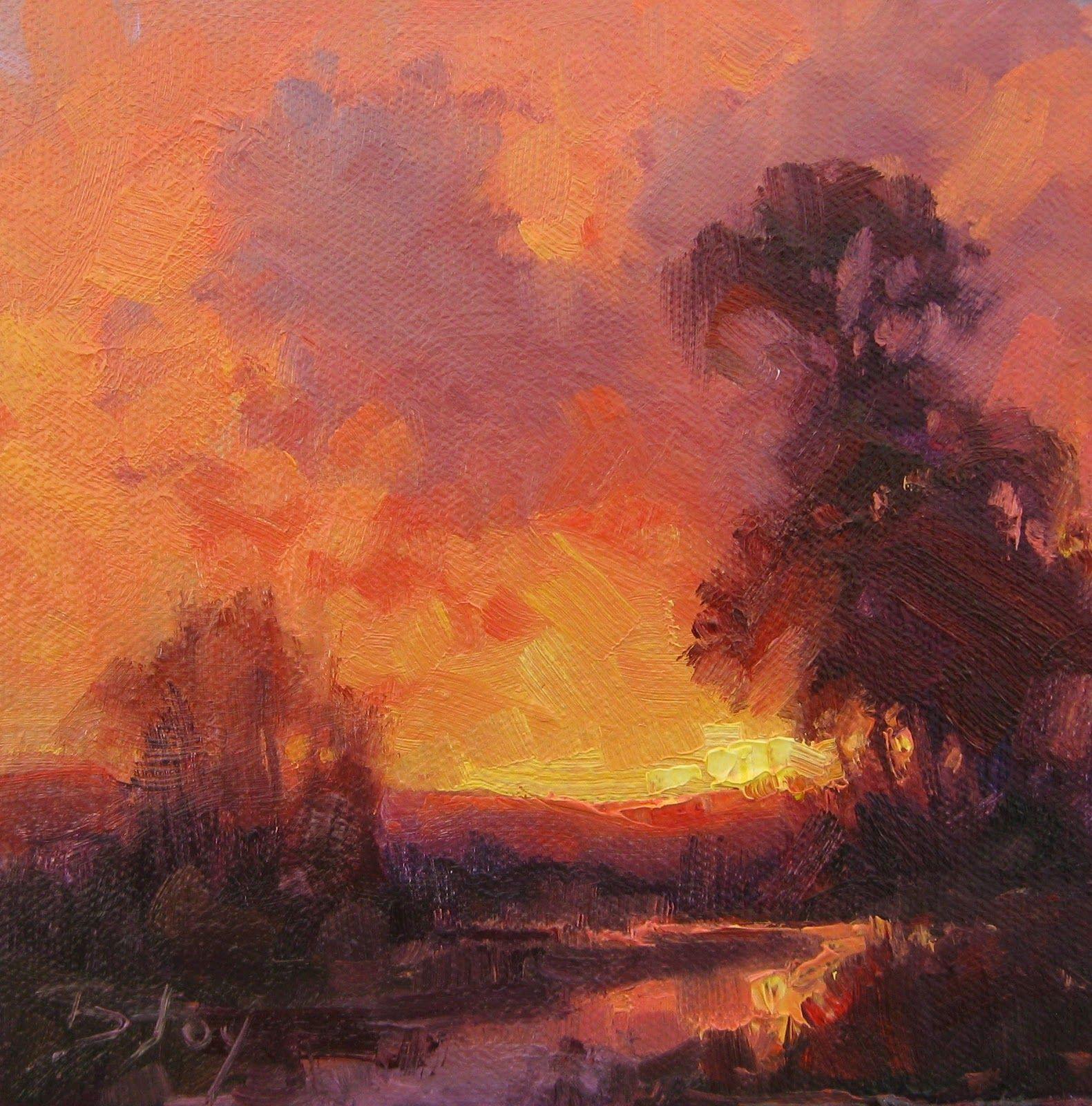Becky Joy Paintings Palette Knife Painters #31 Sunset
