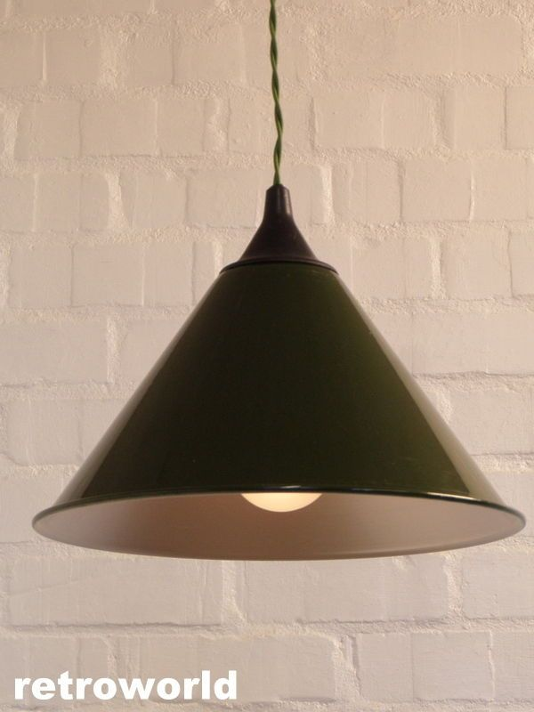 50s 60s ex raf military enamel industrial retro vintage pendant light fitting