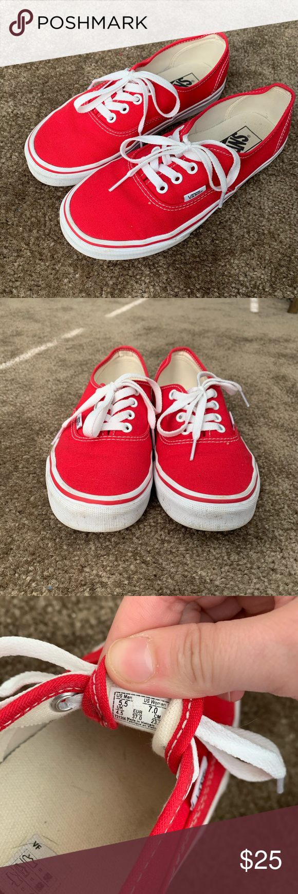 Vans Size 7 (With images) | Red vans