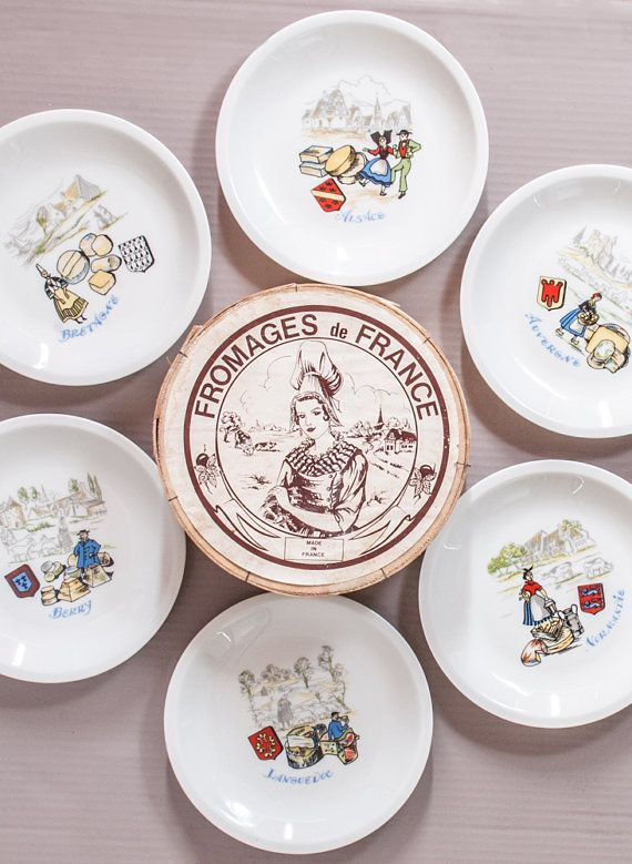 Cheese Plate set of 6 | French cheese plate in porcelain | French Regions Décor |  sc 1 st  Pinterest & Cheese Plate set of 6 | French cheese plate in porcelain | French ...