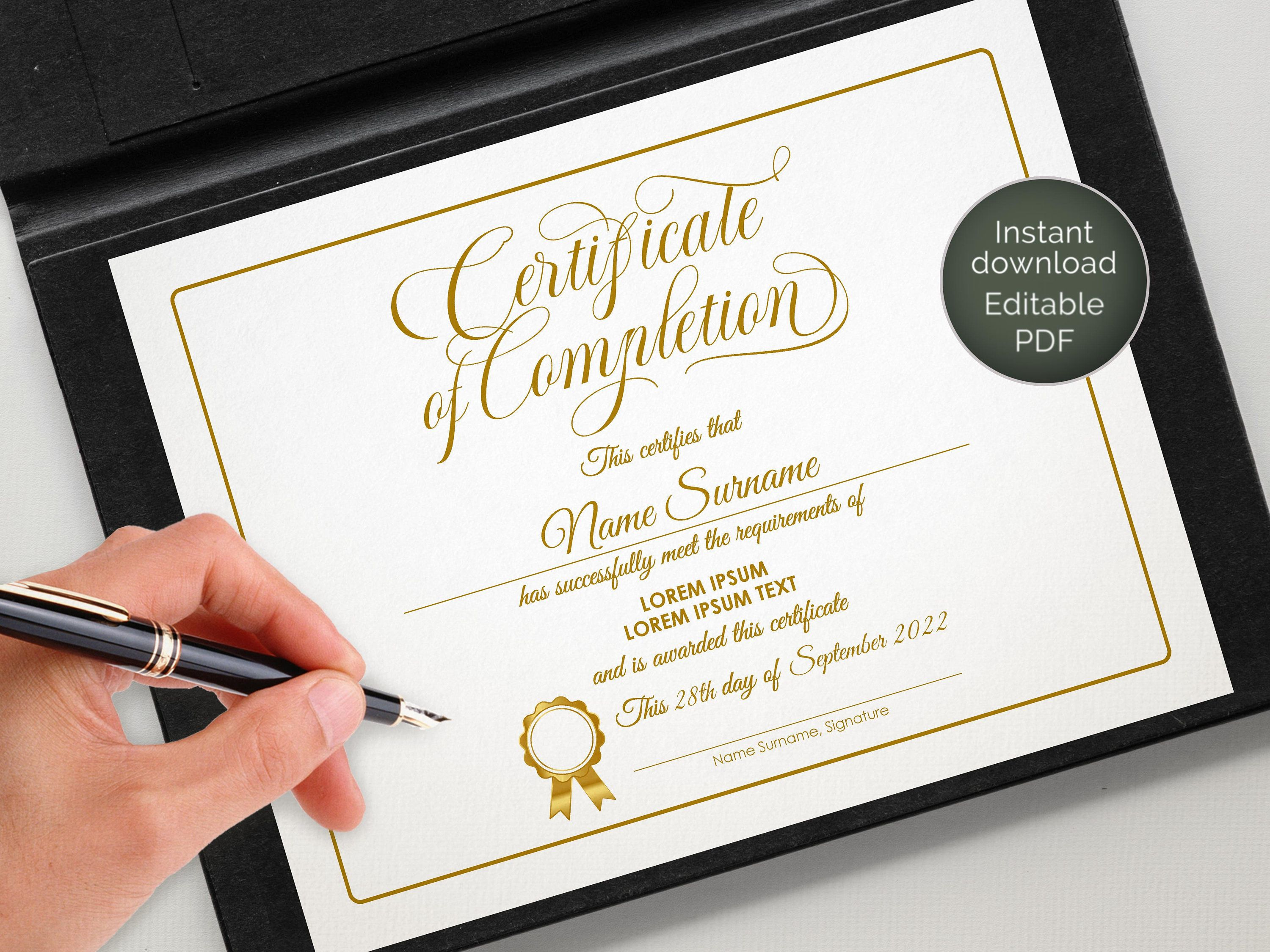 Editable Certificate Of Completion Beauty Training Gold