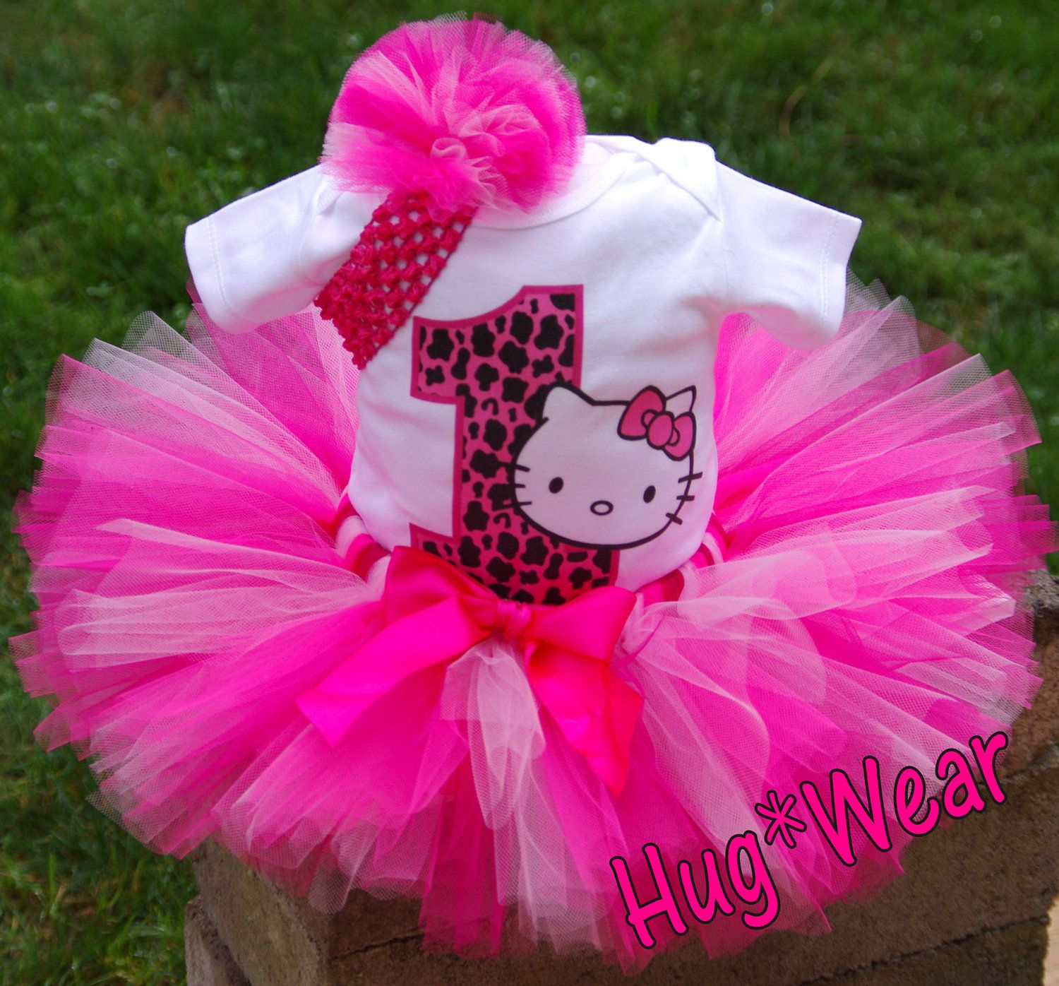 0095455b2 Custom Cheetah Hello Kitty Bithday Tutu 69m 12 18 24 2T by HugWear ...