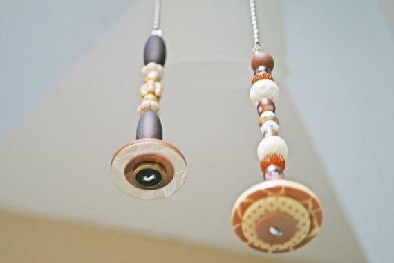TWO Light Pull / Ceiling Fan Pull / Neutral Colors / by Funktini