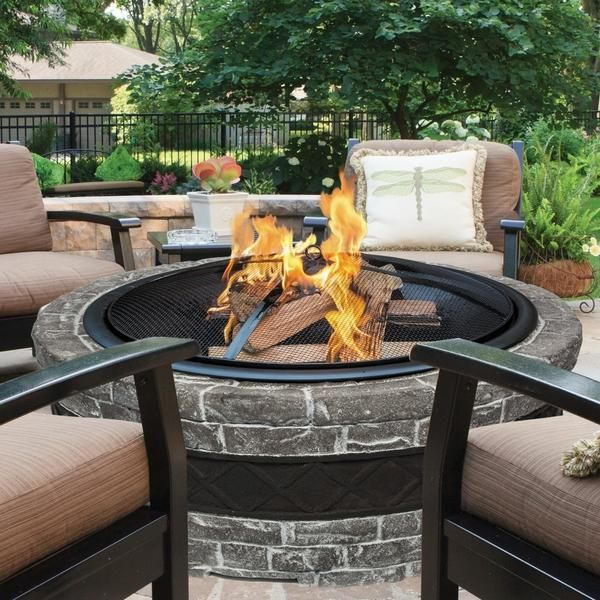"""35"""" Cast Stone Wood-Burning Outdoor Fire Pit in 2020 ..."""