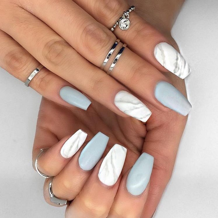 79 Pretty Mismatched Nail Art Designs Pretty Blue And White Marble