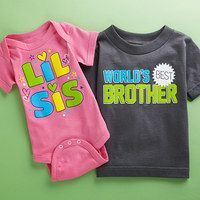 Whether they are the oldest or the youngest, the first-born, the middle child, or the baby, being a sibling is a special gift—even if it may not seem that way! With a gentle nudge from this collection of bodysuits and tees, little ones can express the love and humor of being a brother or sister. #middlechildhumor Whether they are the oldest or the youngest, the first-born, the middle child, or the baby, being a sibling is a special gift—even if it may not seem that way! With a gentle nudge f #middlechildhumor