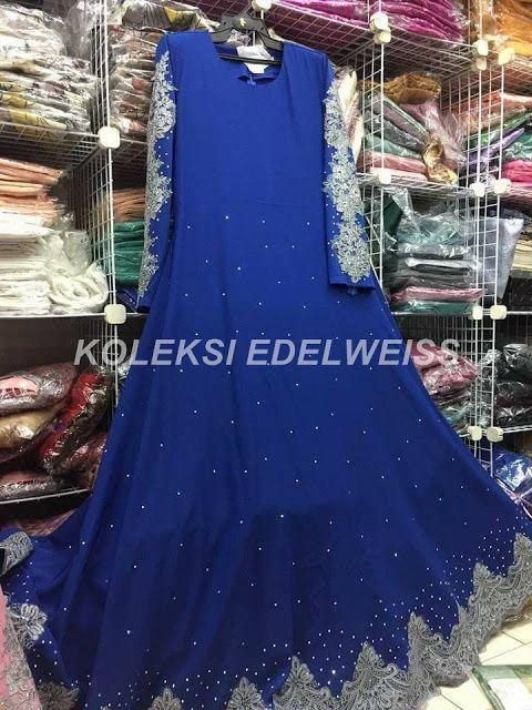 Dress Abaya Glam Warna Royal Blue Lace Kelabu Muslimah Dress Dresses Abaya Dress