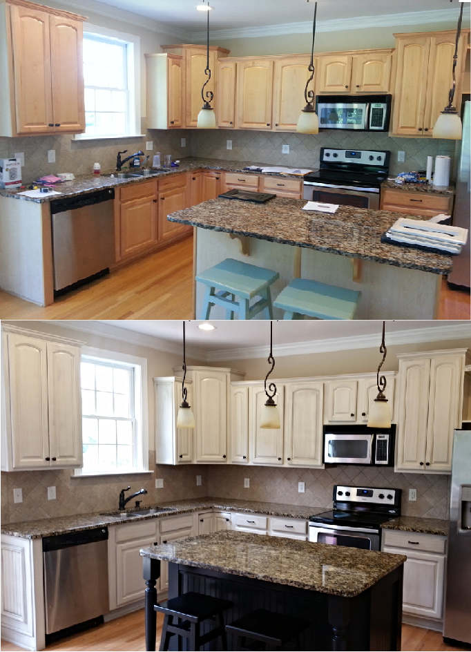 White With Tan Glaze Refinished Cabinets Black Island And