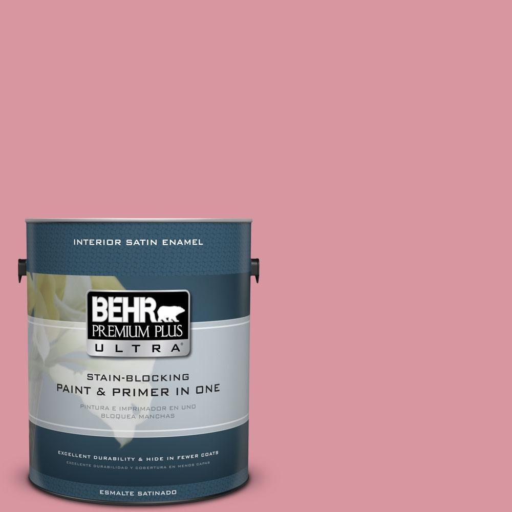 behr premium plus ultra 1 gal m150 4 glow pink satin enamel Enamel Painted Wood m150 4 glow pink satin enamel interior paint reds pinks
