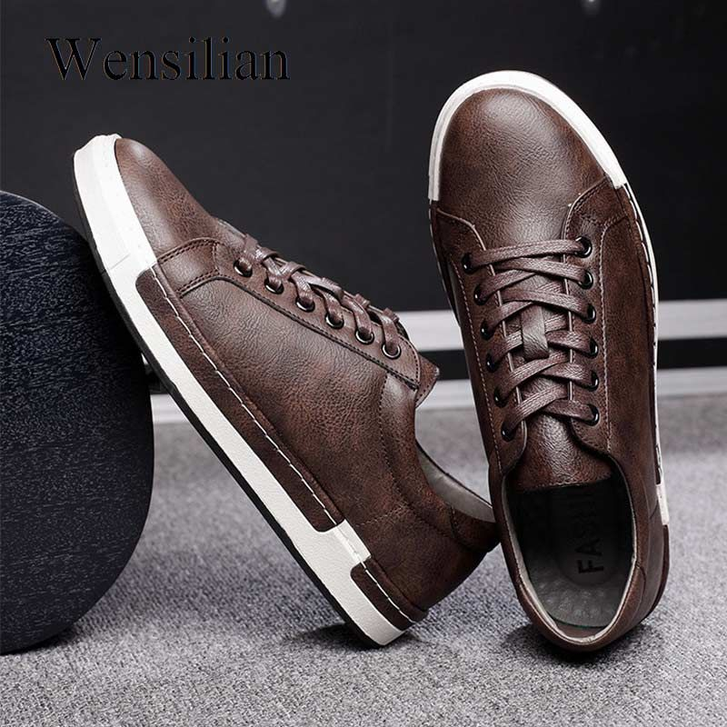 Mens casual shoes, Leather sneakers men