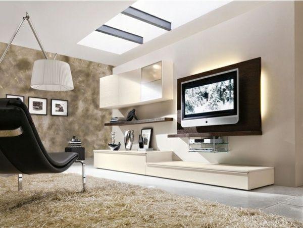 Modernes Wohnzimmer einrichten hellbraune Töne LED Fernseher weiße - wohnzimmer modern einrichten warme tone