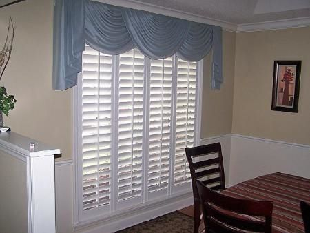 Plantation Shutters With A Custom Swag Drapery Valance Can