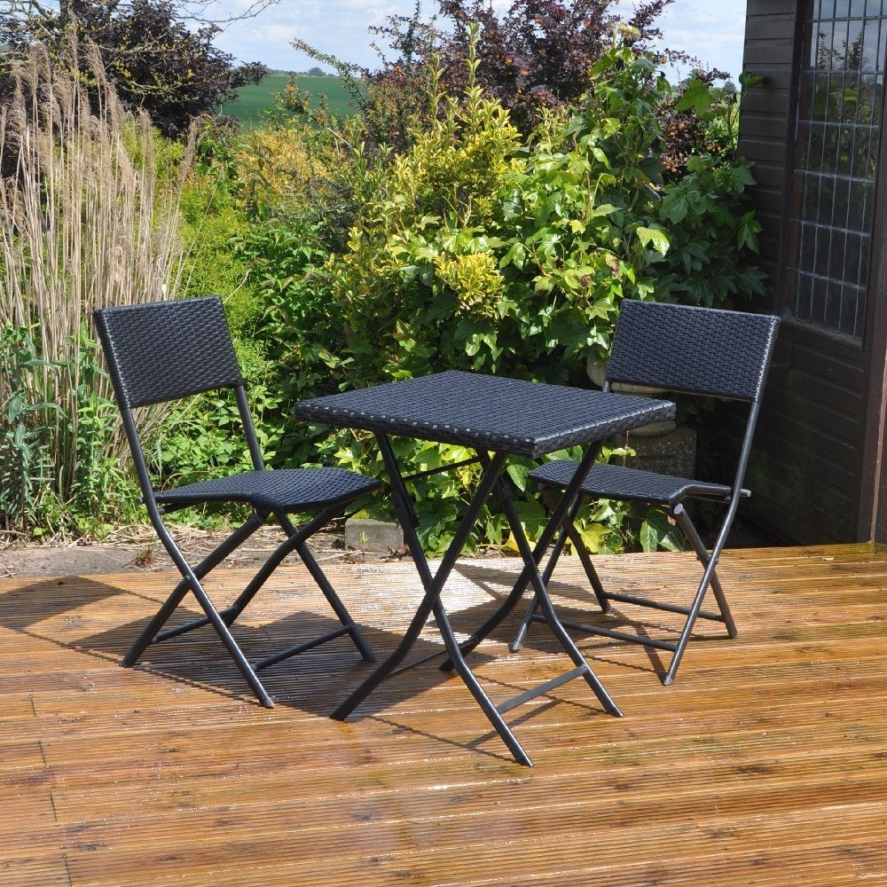 rattan bistro set garden furniture black small balcony outdoor