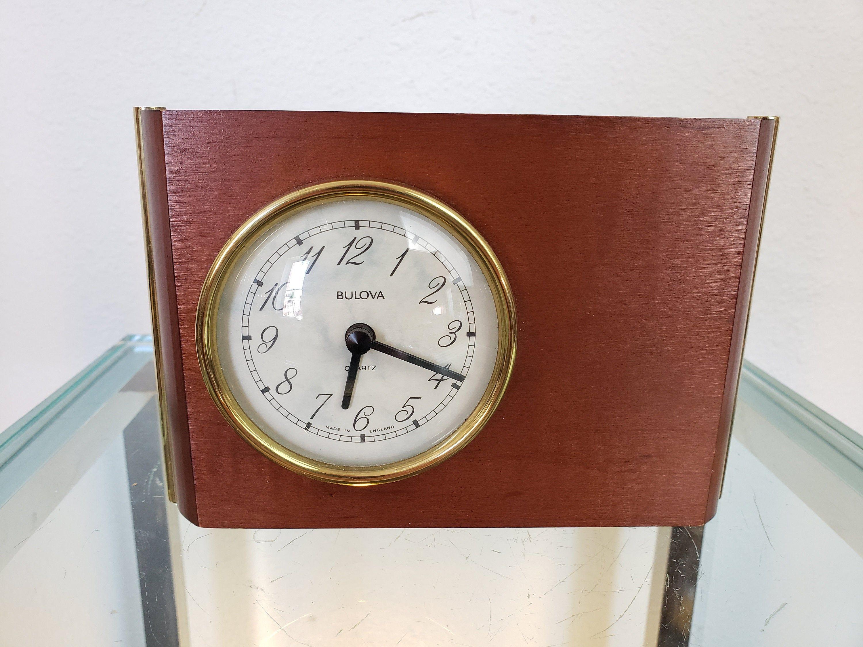 Bulova Desk Clock German Movement Uk Wood Case Office Desk Etsy In 2020 Desk Clock Clock Wood Case