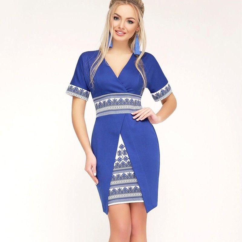 2018 New Women Summer Oversized Dress Ukrainian 6XL Deep V Neck Patchwork  Female Party Gift Elegant Plus Size Dresses Vestidos f5233662c2c1