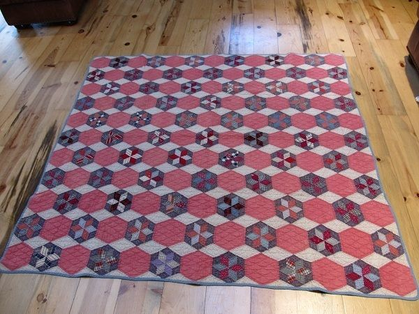 nice! Hexagon Star quilt, late 1890s. Hand pieced and quilted.