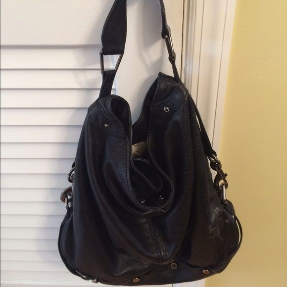 Rebecca Minkoff Nikki hobo bag Has a lot of life left. Authentic. Black  leather with gunmetal hardware detail. Rebecca Minkoff Bags Hobos 90cee574b0