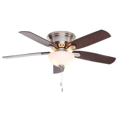 Hunter princeton 52 in indoor low profile brushed nickel ceiling hunter princeton 52 in indoor brushed nickel ceiling fan 53269 the home depot sand the blades stain to match flooring etc aloadofball Image collections