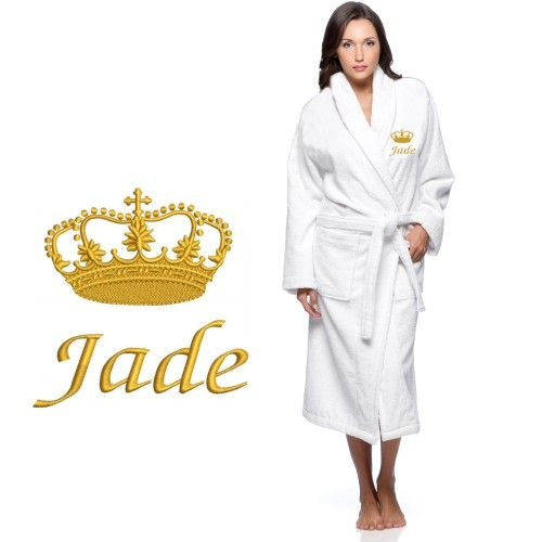 Terry robe with gold thread crown below custom name text  Embroidery will  make a great gift item. b5082bc5b