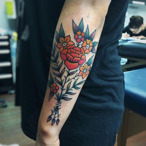 Simple traditional flower bundle tattoo