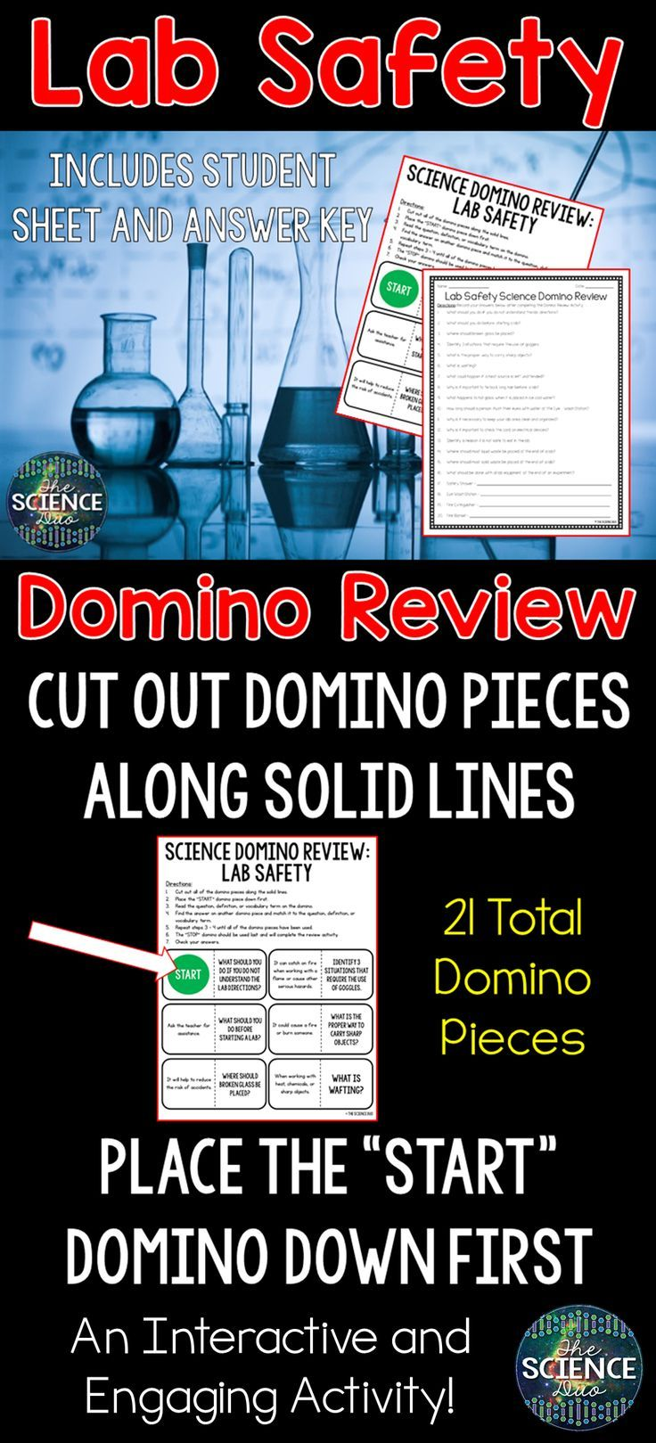 Lab Safety Science Domino Review Activity Middle
