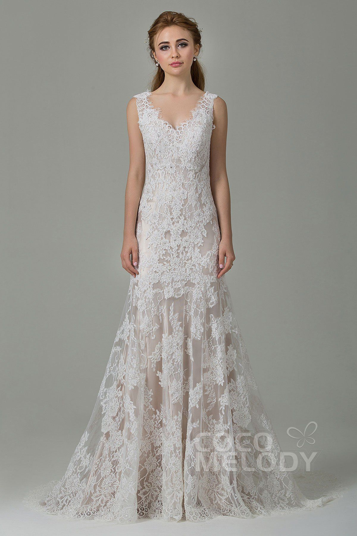58ec1ce5c9 Fabulous Sheath-Column V-Neck Natural Sweep-Brush Train Lace  Ivory Champagne Sleeveless Open Back Wedding Dress with Appliques and  Beading CWXT14061