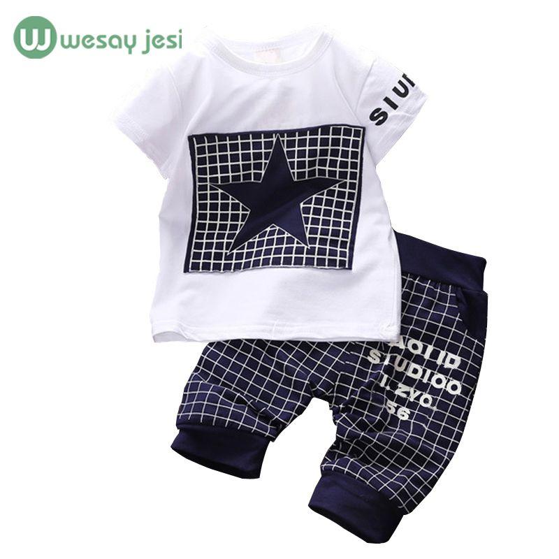 아기 소년 옷 2017 브랜드 여름 아이 세트 t 셔츠 + 바지 정장 의류 세트 스타 인쇄 옷 신생아 스포츠 정장