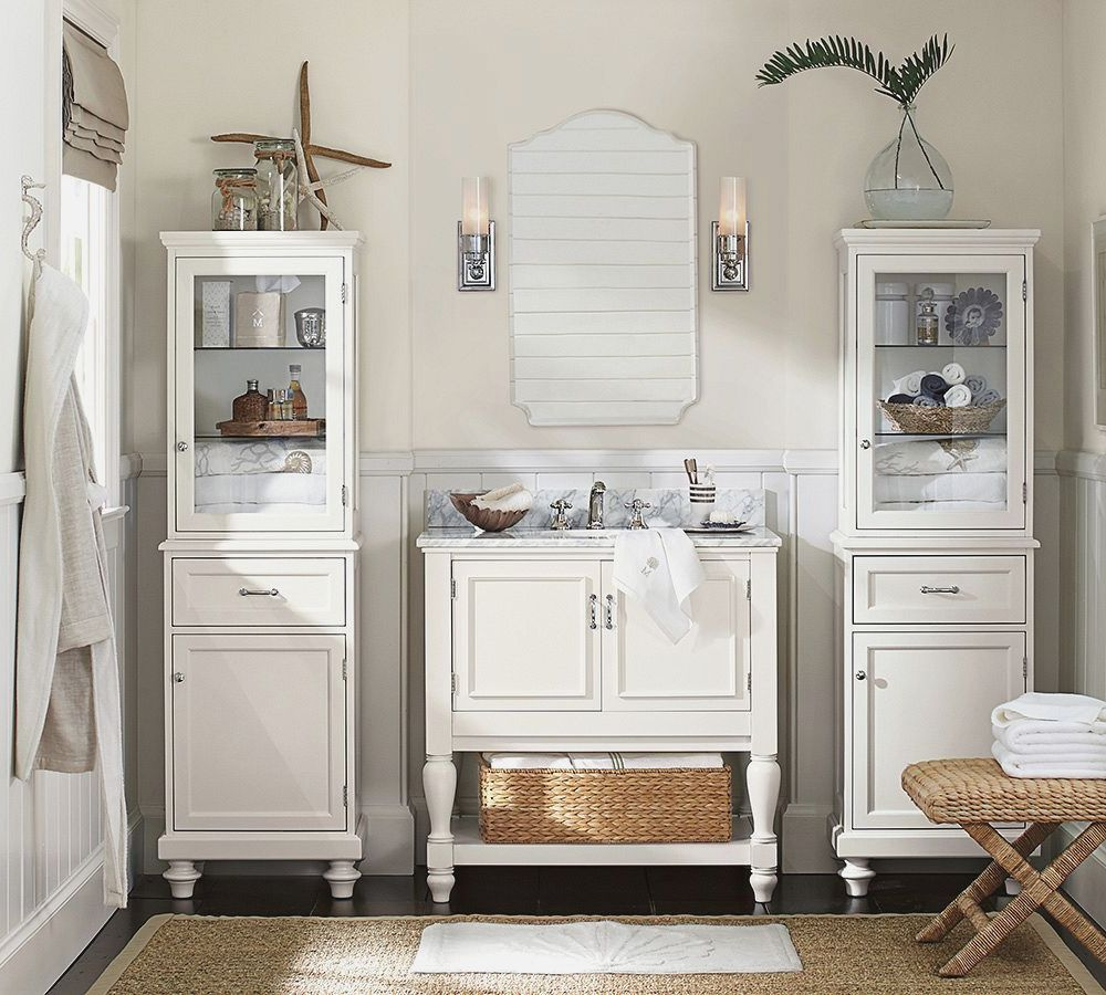 mid century small bathroom ideas with pottery barn white wooden ...