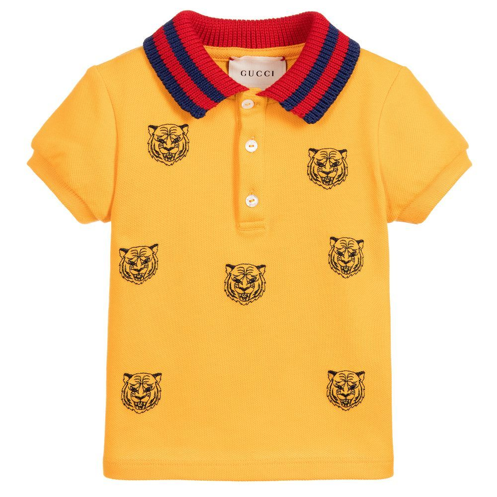 a82eeea896e Gucci - Boys Yellow Tiger Polo Shirt