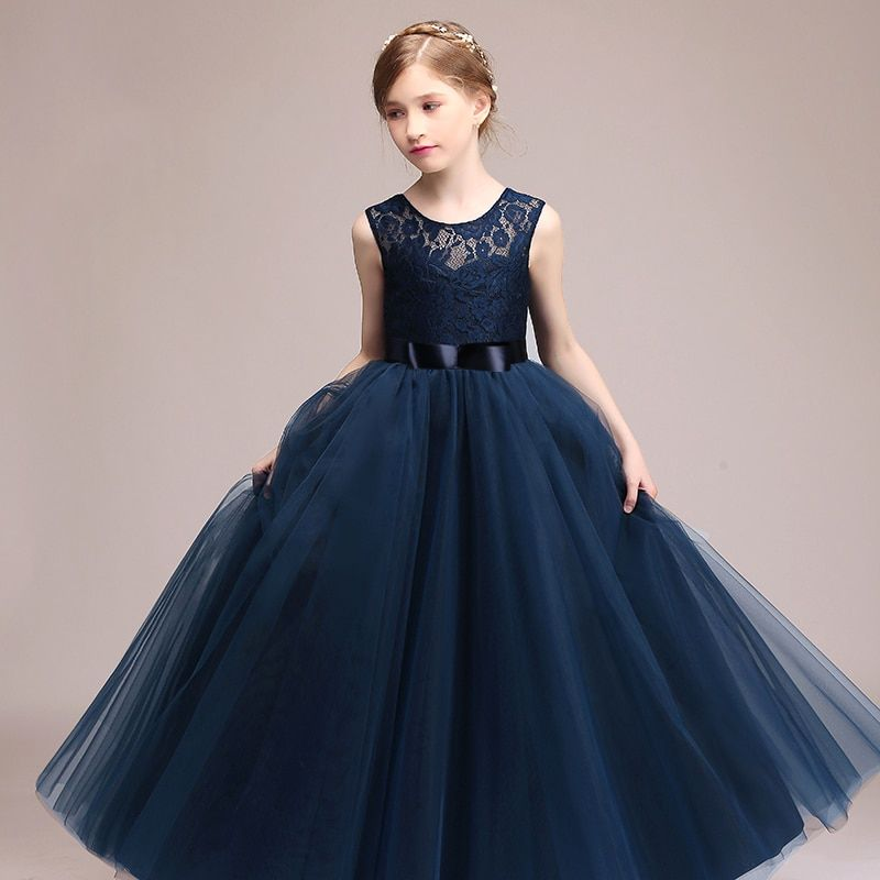 Big Girls Lace Chiffon Flower Dress Junior Wedding Bridesmaid Pageant Formal Party Long Maxi Prom Dance Ball Gown Summer Princess Floor Length Sleeveless Birthday Communion/ Evening Dresses for Kids